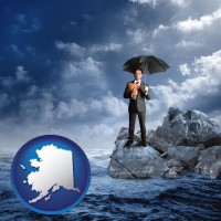 ak map icon and a business insurance concept photo