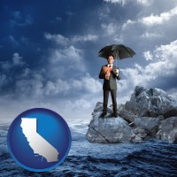 california map icon and a business insurance concept photo