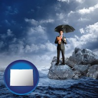 colorado map icon and a business insurance concept photo
