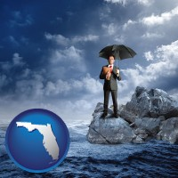 florida map icon and a business insurance concept photo