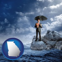 georgia map icon and a business insurance concept photo