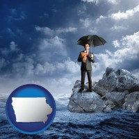 ia map icon and a business insurance concept photo