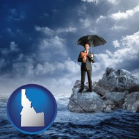 id map icon and a business insurance concept photo