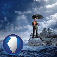illinois map icon and a business insurance concept photo