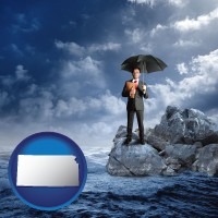 ks map icon and a business insurance concept photo