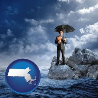 massachusetts map icon and a business insurance concept photo