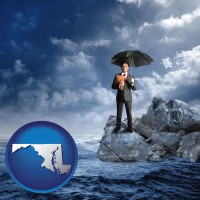maryland map icon and a business insurance concept photo
