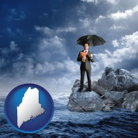maine map icon and a business insurance concept photo