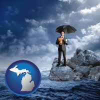 mi map icon and a business insurance concept photo