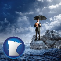 minnesota map icon and a business insurance concept photo
