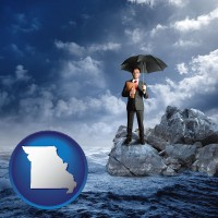 mo map icon and a business insurance concept photo