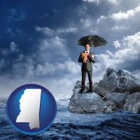ms map icon and a business insurance concept photo