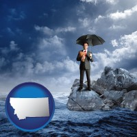 montana map icon and a business insurance concept photo