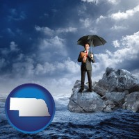 ne map icon and a business insurance concept photo