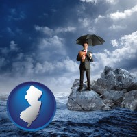 new-jersey map icon and a business insurance concept photo