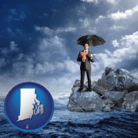 rhode-island map icon and a business insurance concept photo