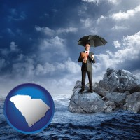 south-carolina map icon and a business insurance concept photo
