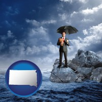 south-dakota map icon and a business insurance concept photo
