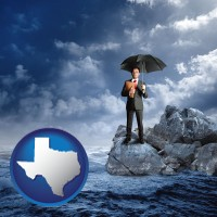 tx map icon and a business insurance concept photo
