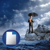 utah map icon and a business insurance concept photo