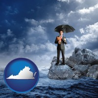 va map icon and a business insurance concept photo