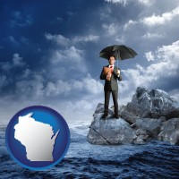 wi map icon and a business insurance concept photo