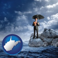 wv map icon and a business insurance concept photo