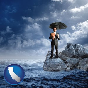 a business insurance concept photo - with California icon
