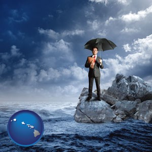 a business insurance concept photo - with Hawaii icon