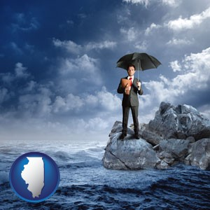 a business insurance concept photo - with Illinois icon