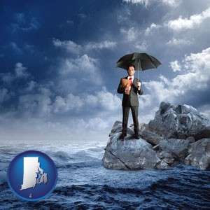 a business insurance concept photo - with Rhode Island icon