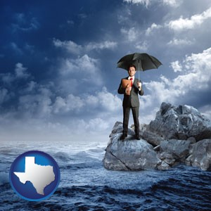 a business insurance concept photo - with Texas icon